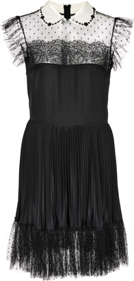 RED Valentino Tulle-Trimmed Plisse Satin Mini Dress