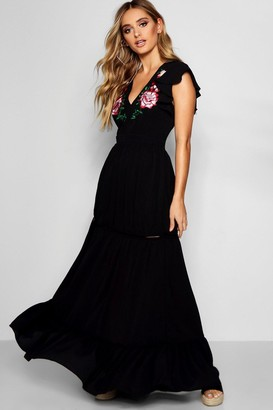 boohoo Embroidered Ruffle Hem Maxi Dress