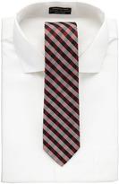 Neiman Marcus Check Silk Slim Tie, Red