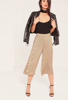 Missguided Nude Lace Side Satin Culottes