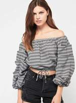 Miss Selfridge Petite checked bardot blouse