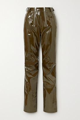 GmbH Frey Zip-detailed Vinyl Slim-leg Pants - Army green