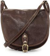 Neiman Marcus Small Buckle Leather Saddle Bag, Tmoro