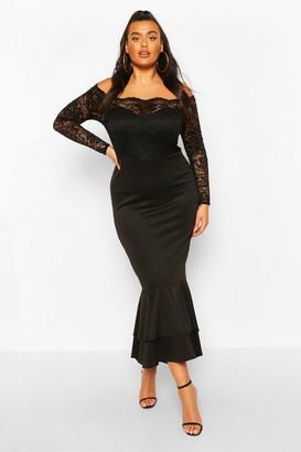 boohoo Plus Lace Bardot Fishtail Maxi Dress