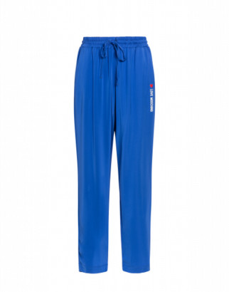 Love Moschino Viscose Stretch Cady Trousers Woman Blue Size 38 It - (4 Us)