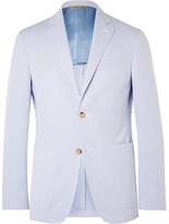 Canali Blue Kei Slim-fit Striped Cotton-seersucker Blazer