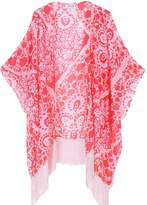 soul young Women's Floral Aztec Leopard Light Chiffon Beachwear Cover up Kimono Cardigan Outfit(,Black&Rose)