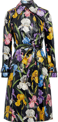 Dolce & Gabbana Floral-print Vinyl Trench Coat