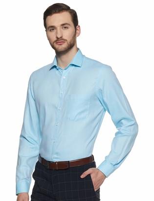 Shaftesbury London Men's Regular Fit Long Sleeves Spread Collar Dress Shirt 17.5 Torquise Blue