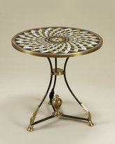 Round Stone Inlay Side Table