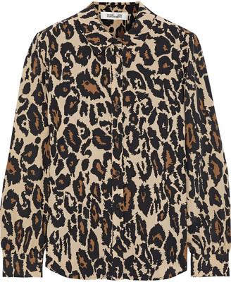 Diane von Furstenberg Mariah Leopard-print Silk Crepe De Chine Shirt