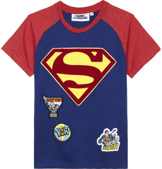 Fabric Flavours Boys Blue Superman Cotton T-Shirt, Size: 7-8 Years