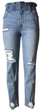 Tinseltown Tinsletown Juniors' Distressed Paperbag-Waist Jeans