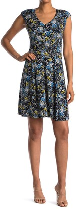 London Times Floral Print Jersey Fit and Flare Dress