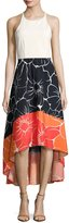 Neiman Marcus Sleeveless High-Low Dress, Multi
