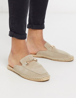 ASOS DESIGN backless mule espadrilles in stone with snaffle