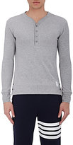 Thom Browne Men's Ribbed Henley-LIGHT GREY
