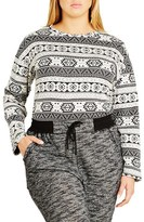City Chic Plus Size Women's 'Cabin Fever' Jacquard Top