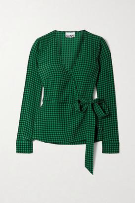 Ganni Gingham Crepe Wrap Top - Green