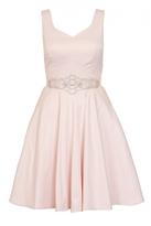 Quiz Pink Satin Diamante Waist Prom Dress