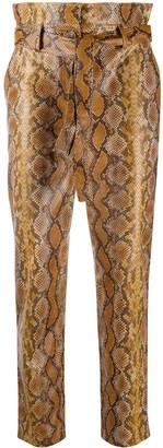Twin-Set Snakeskin-Effect Cropped Trousers