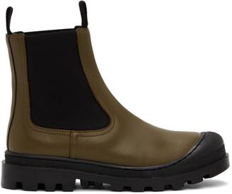 Loewe Khaki Calfskin Chelsea Boots