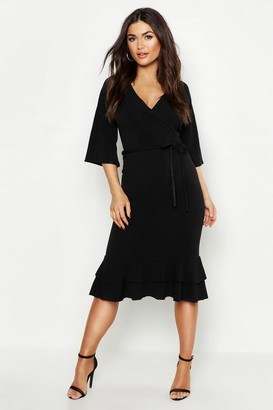 boohoo Wrap Frill Midi Dress