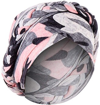 Loveletters  Loveletters Women's India Hats Muslim Cancer Chemo Beanie Turban Wrap Cap Muslim Head Wraps Twisted Braid Hair Cover Wrap Hijab Headwear Headband Gray