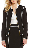 Calvin Klein Luxe Stretch Suiting Pipe Trimmed Zip-Front Jacket