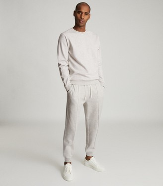 Reiss Coventry - Cotton Blend Jersey Joggers in Soft Grey
