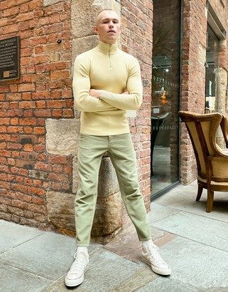 ASOS DESIGN muscle fit ribbed half zip jumper in oatmeal