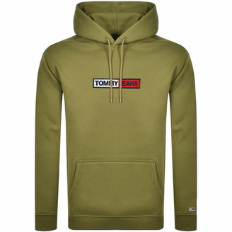 Tommy Jeans Embroidered Box Logo Hoodie Khaki