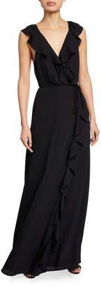 WAYF The Elise Open-Back Ruffle Wrap Gown