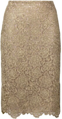 Valentino Floral Embroidered Mesh Skirt
