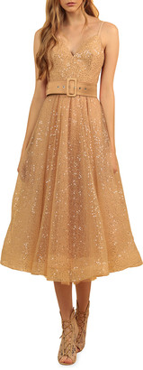 Bronx and Banco Cindy Shimmery Fit-&-Flare Midi Dress