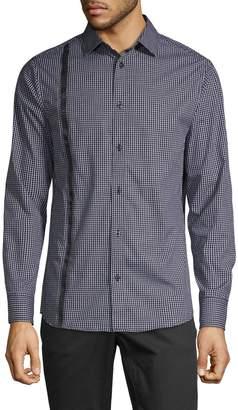 Karl Lagerfeld Paris Checkered Long-Sleeve Shirt