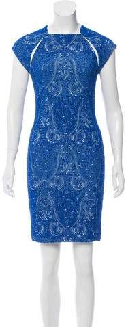 Yigal Azrouel Embroidered Leather-Trimmed Dress