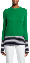Michael Kors Layered Striped Crewneck Sweater