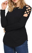 Bluetime Women's Sexy Cut Out Cold Shoulder Tops Long Sleeve Casual Blouse T Shirt (M, )