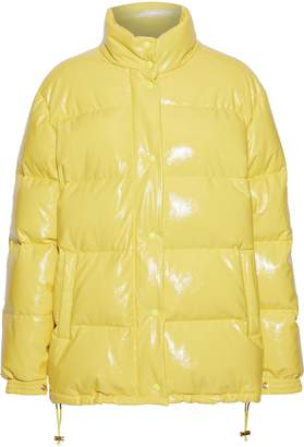 Alberta Ferretti Embroidered Quilted Glossed-shell Down Coat