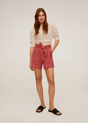 MANGO Belt cotton shorts burnt orange - S - Women