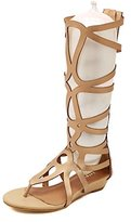 Odema Women's Roman Cut out Knee High Strappy Gladiator Thong Sandals