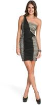 Nicole Miller Geometric Colorblock Shoulder Dress