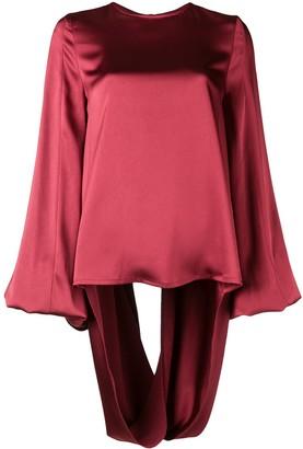 Margaux Rouge open-back draped blouse