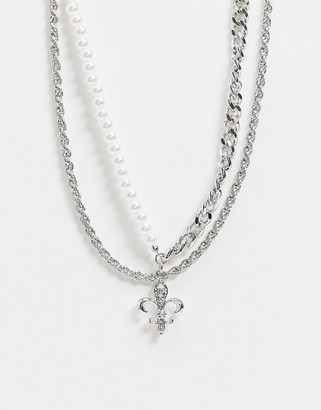 ASOS DESIGN multirow necklace with pearl curb chain and fleur de lis pendant in silver tone