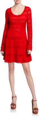 M Missoni Long-Sleeve Scoop-Neck Fit-&-Flare Dress