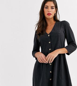 Asos Tall DESIGN Tall soft denim tea dress in black