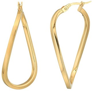 Roberto Coin Twist Hoop Square Tube Earrings (18K Yellow Gold) Earring