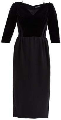 Vika Gazinskaya Cropped-sleeve Velvet Midi Dress - Black