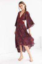 Ecote Printed 3/4 Sleeve Cutout Maxi Dress